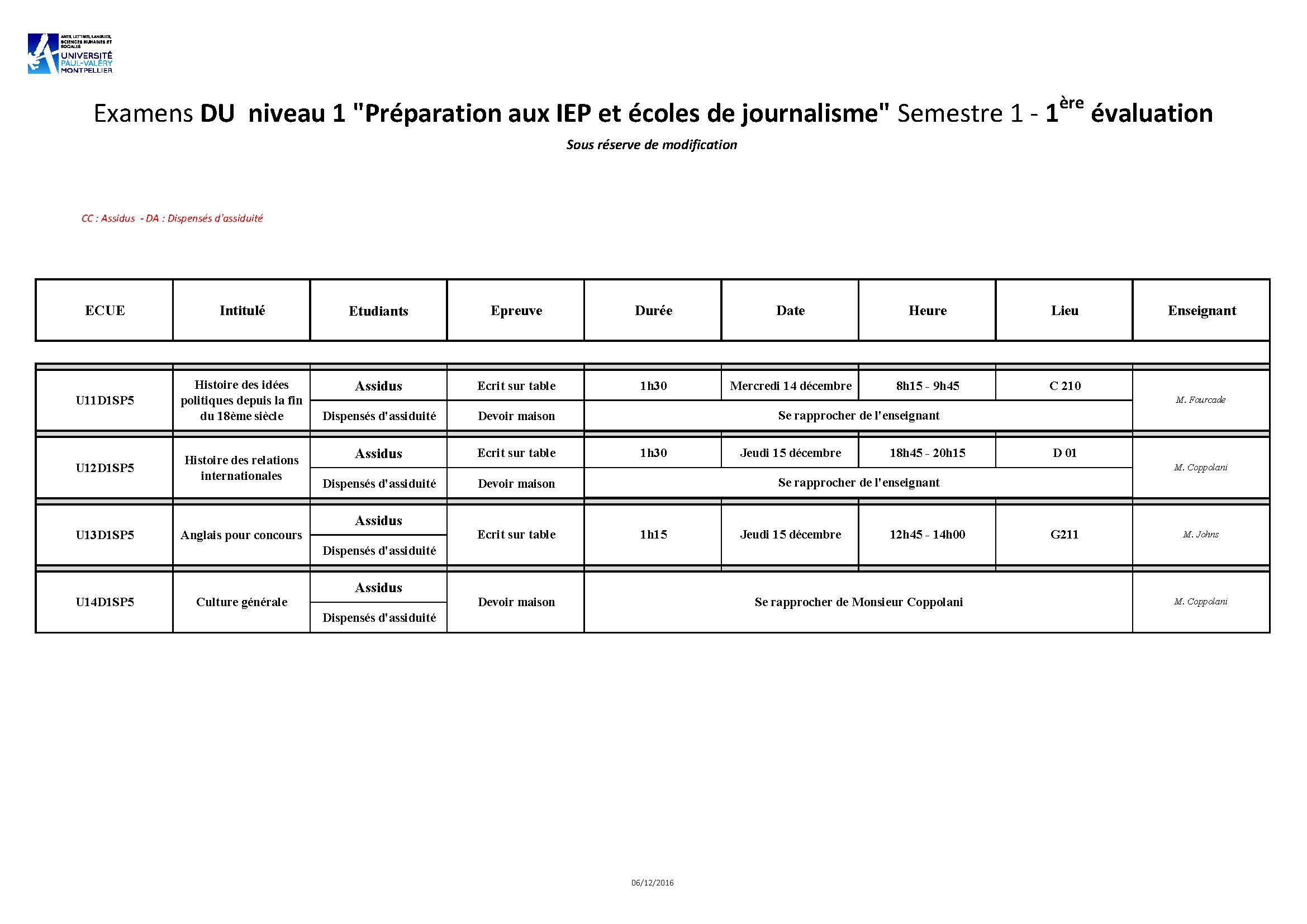 Calendrier Des Examens Sciences Po.Examens Etu Ufr3